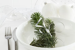 White Christmas dinner table Royalty Free Stock Photo