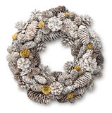 White Christmas door wreath. Decoration made of pine and fir cones stock photography
