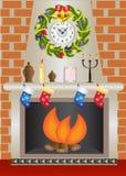 White Christmas fireplace Royalty Free Stock Image