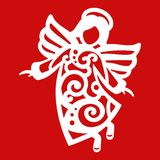 White Christmas flying Angel on the red background. Silhouette of Angel may use for card, laser. cutting, plotter Stock Images