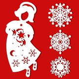 White Christmas flying Angel with star in his hands on the red background. Silhouette of Angel may use for card, laser Royalty Free Stock Photography