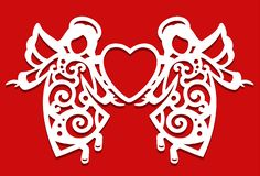 White Christmas flying two Angels on the red background. Angels keep the heart in their hands. Silhouette of Angel may Stock Photos