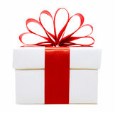 White Christmas gift box with red bow Royalty Free Stock Images