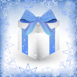 White christmas gift box with ribbon isolated Royalty Free Stock Photos