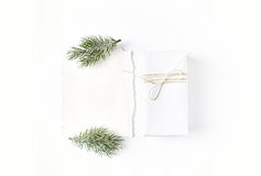 White Christmas Gift Box with Spruce stock photos