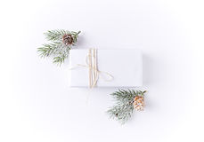 White Christmas Gift Box with Spruce stock photography