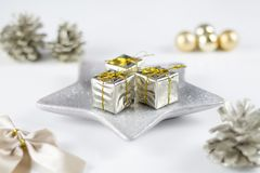 White Christmas gift boxes and decoration. White Christmas gift boxes and beautiful decoration stock photos