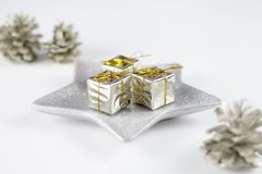 White Christmas gift boxes and decoration. White Christmas gift boxes and beautiful decoration royalty free stock photography