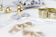 White Christmas gift boxes and decoration. White Christmas gift boxes and beautiful decoration royalty free stock image