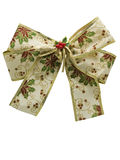 White christmas gift ribbon. Close up photo of white christmas gift ribbon decoration Stock Photo