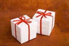White Christmas gifts Stock Photo