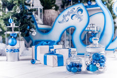 White Christmas gifts with blue ribbons Stock Photo