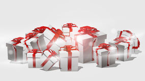 White christmas gifts with red ribbons 3d render Royalty Free Stock Photo
