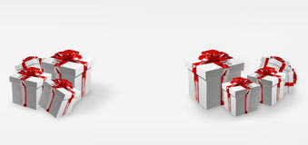 White christmas gifts with red ribbons 3d render Royalty Free Stock Photography