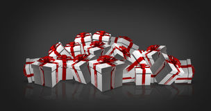 White christmas gifts with red ribbons 3d render Stock Photo