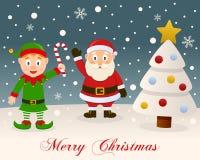 White Christmas - Green Elf & Santa Claus Royalty Free Stock Photo