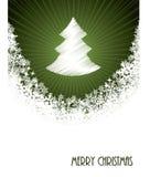 White christmas greeting with bursting christmastree from green. White christmas greeting card design with bursting christmastree from green circle Stock Image