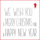 White Christmas greeting card with black text and red silhouette of Santa Claus.  Royalty Free Stock Photos