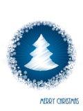 White christmas greeting card with bursting christmas tree Stock Photos