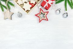 White christmas holidays background with green fir tree branches stock photos