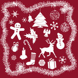 White Christmas Icons Royalty Free Stock Photography