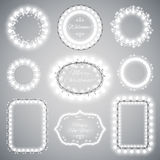 White Christmas Illumination Frames Royalty Free Stock Images