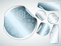White Christmas labels and stickers. With chrome border and snowflakes pattern (vector Stock Photo