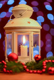 White Christmas lantern with candle Royalty Free Stock Photography