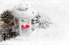 White Christmas Lantern with Ornaments on Snow and Ice Snowflake Royalty Free Stock Images