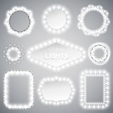 White Christmas Lights Frames Royalty Free Stock Images