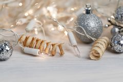 white christmas lights Royalty Free Stock Image
