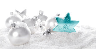White christmas ornaments Royalty Free Stock Images