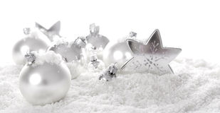 White christmas ornaments Stock Photo