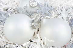 White Christmas Ornaments with Silver Snowflakes stock image