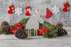 White christmas ornaments, xmas tree on rustic wood background. Royalty Free Stock Images