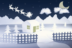 White Christmas paper cut. White Christmas landscape made with paper Stock Photography