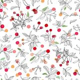 White christmas pattern with rose plant and buds. stock image
