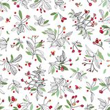 White christmas pattern with rose plant and leaves. stock illustration
