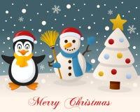 White Christmas - pinguim & boneco de neve bonito Fotos de Stock Royalty Free