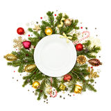 White Christmas plate with baubles, stars and fir -  isolated Stock Images