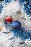White Christmas red and blue ball vintage ornaments Royalty Free Stock Photos