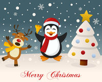 White Christmas - Reindeer & Cute Penguin Stock Images