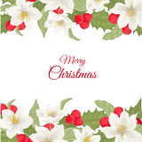 White Christmas rose holly berry mistletoe garland Royalty Free Stock Image