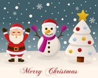 White Christmas - Santa Claus & Snowman Royalty Free Stock Photos