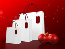 White christmas shopping bag Stock Photos