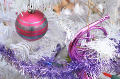 White Christmas silver glitter striped redl vintage ornaments Royalty Free Stock Photo