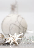 White christmas silver star and ball. For card Stock Photography