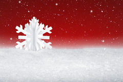 White Christmas snow flake decoration. On fake white snow Stock Photos