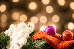 White Christmas snowflakes background defocused yellow lights. Royalty Free Stock Images