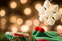White Christmas snowflakes background defocused yellow lights. Stock Photos